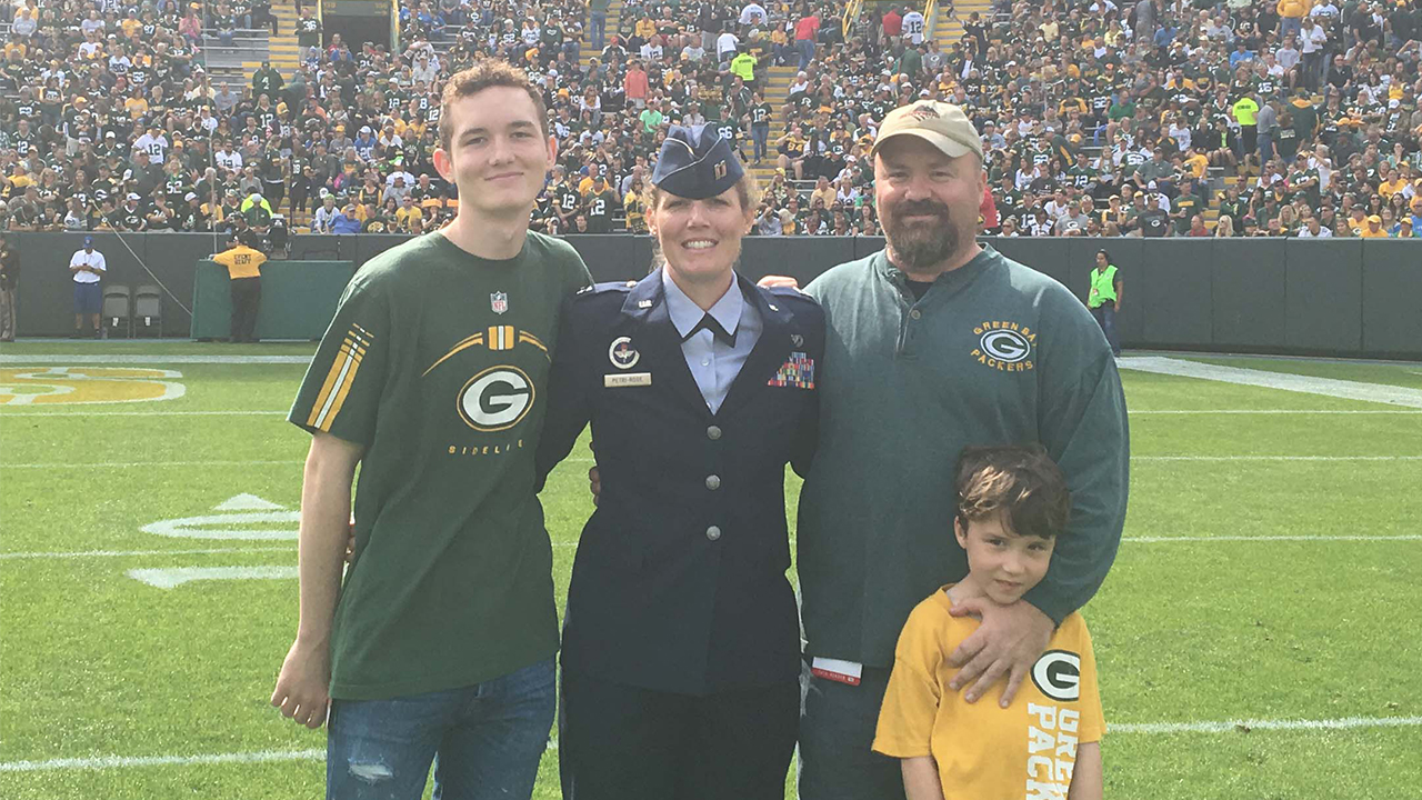 Captain Rachel Petri-Rose attended with her husband and two of their four children, Riley and Kelton.