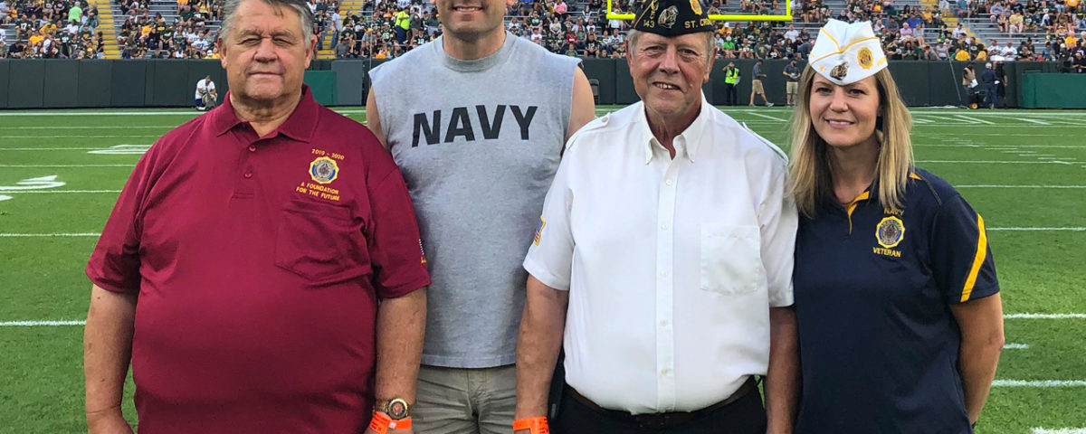 American Legion members (left to right): Tim Baranzyk (Marines), Brian Burdick (Navy), Jim Chapin (Army) and Amber Nikolai (Navy).