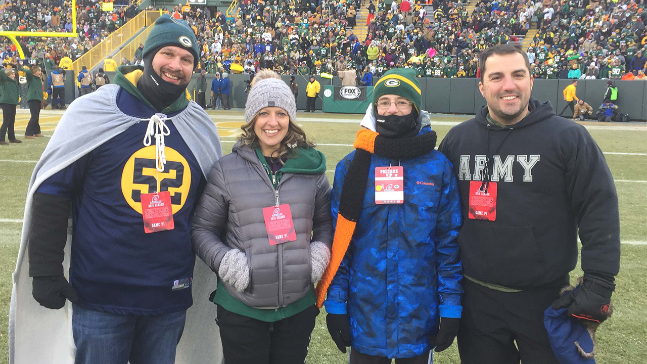 WPS Health Solutions Operation Fan Mail at the Green Bay Packers Game for Army Veteran Michael Kirby