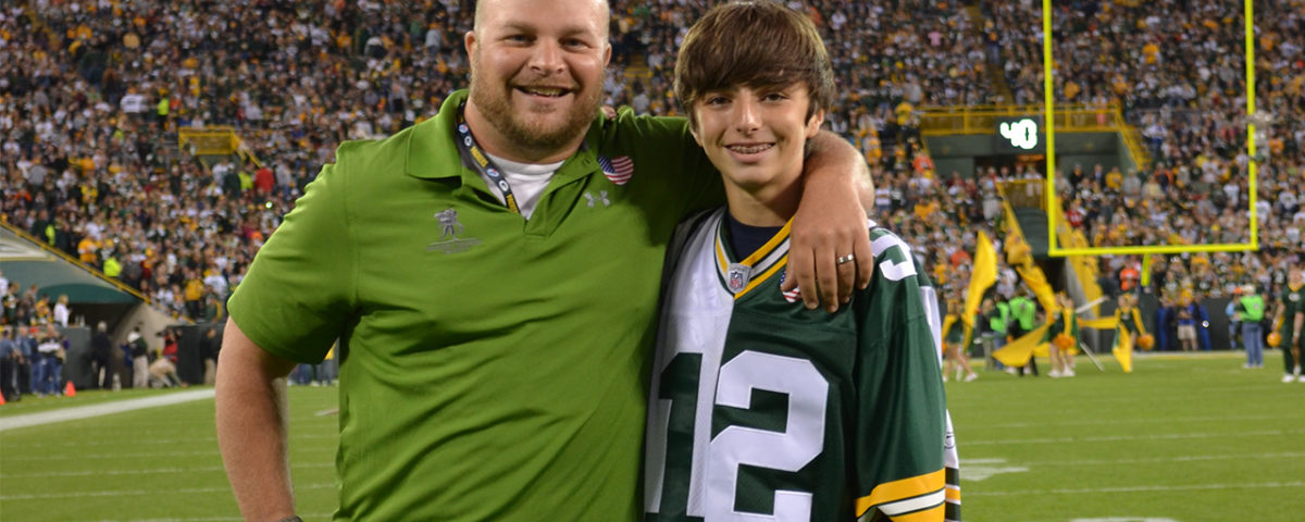 Sergeant BJ Ganem was accompanied to the game by his son, Dylan.